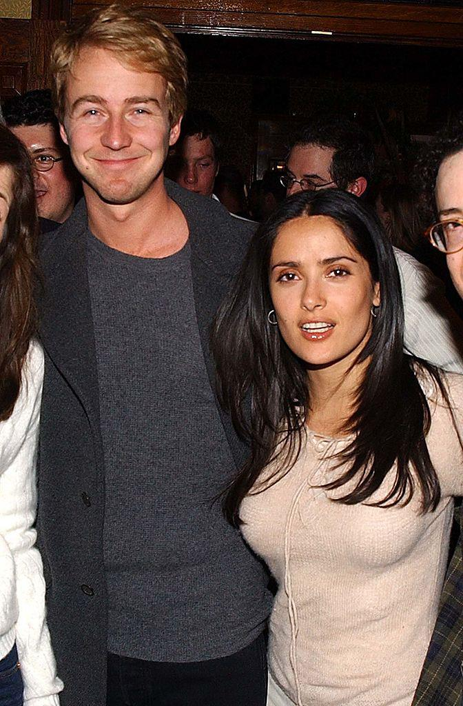 """**Salma Hayek and Edward Norton** <br><br> Hayek and *The Italian Job* actor Norton reportedly dated for four years, between 1999 and 2003. <br><br> The couple also worked together on the 2002 film *Frida*, and Hayek later revealed that Norton helped write the film's script (something she unearthed during her 2017 essay for *[The New York Times](https://www.nytimes.com/interactive/2017/12/13/opinion/contributors/salma-hayek-harvey-weinstein.html