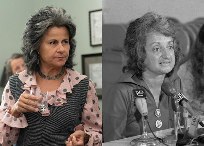 """**Tracey Ullman as Betty Friedan**<br><br>  British actress Tracey Ullman takes on the part of Betty Friedan, one of the pioneers of the modern feminist movement and author of [*The Feminine Mystique*](https://fave.co/3cQMJDG