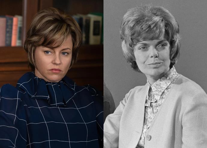"""**Elizabeth Banks as Jill Ruckelshaus**<br><br>  Acclaimed actress and director Elizabeth Banks stars as activist Jill Rucklehaus, who served as White House assistant and headed up the Office of Women's Programs in the '70s. [Nicknamed](https://www.washingtonpost.com/archive/lifestyle/1983/05/18/jill-ruckelshaus-back-in-the-fishbowl/e9920425-35e9-409f-a102-838cec4c221c/