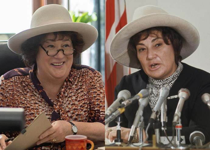 """**Margo Martindale as Bella Abzug**<br><br>  Margo Martindale, whose previous work includes appearances in *The Good Wife* and *August: Osage County*, plays women's rights activitist Bella Abszug. A passionate feminist who served as a New York state representative in the '70s, Abzug used to campaign with the cheeky motto: """"The Woman's place is in the House... the House of Representatives."""""""