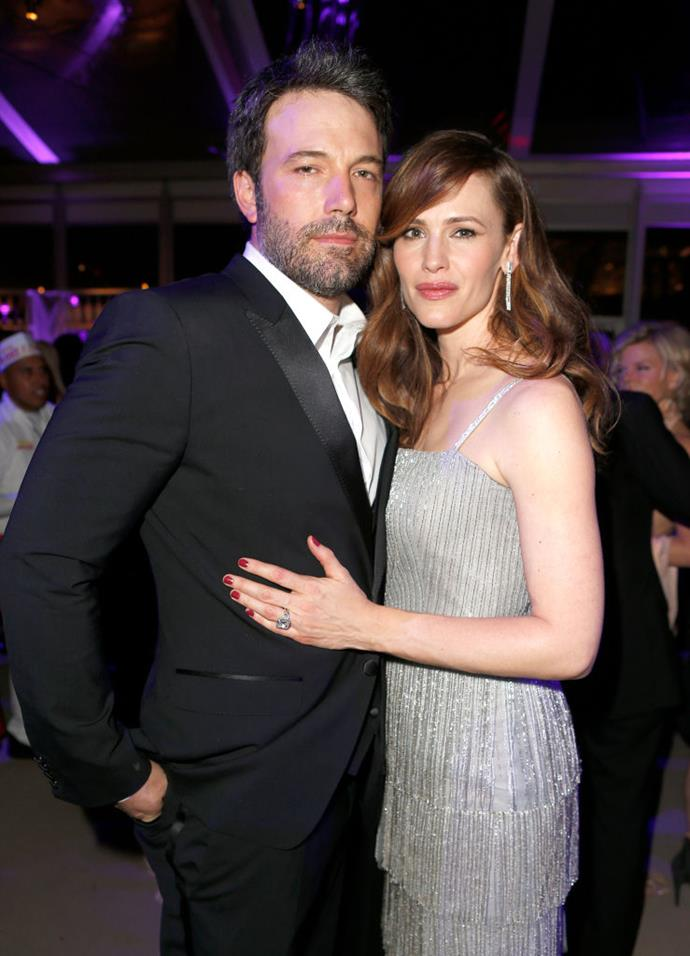"**Jennifer Garner** <br><br> Affleck began dating fellow actor Jennifer Garner in 2004 after meeting on the set of *Pearl Harbor*, and they married a year later. They were together until officially divorcing in 2018, and share three children—Violet, Seraphina and Samuel. <br><br> In 2020, Affleck told *[The New York Times](https://www.nytimes.com/2020/02/18/movies/ben-affleck.html|target=""_blank""
