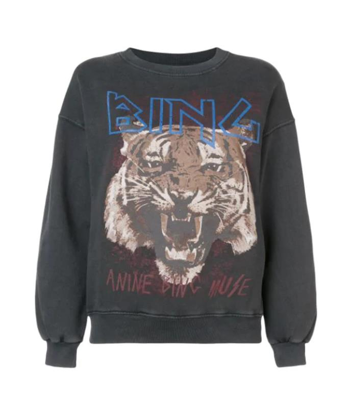 "**5. Anine Bing tiger sweatshirt**<br><br>  Call it the [*Tiger King*](https://www.elle.com.au/culture/tiger-king-facts-memes-23290|target=""_blank"") meets [loungewear](https://www.harpersbazaar.com.au/fashion/loungewear-brands-australia-20097