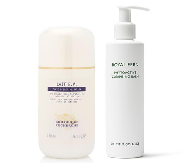 """**Step 1: Double cleanse** <br><br> """"In the evening I always double cleanse. First with a gentle milk or oil cleanse to break down makeup, SPF, oil, dirt and pollution. For my second cleanse, I use something a little more active with AHAs to dissolve any cellular debris and really deep clean the pores."""" <br><br> *Grant uses: Biologique Recherche Lait EV, $95 at [Skin Care Edit](https://biologiquerecherche.com.au/products/lait-e-v/