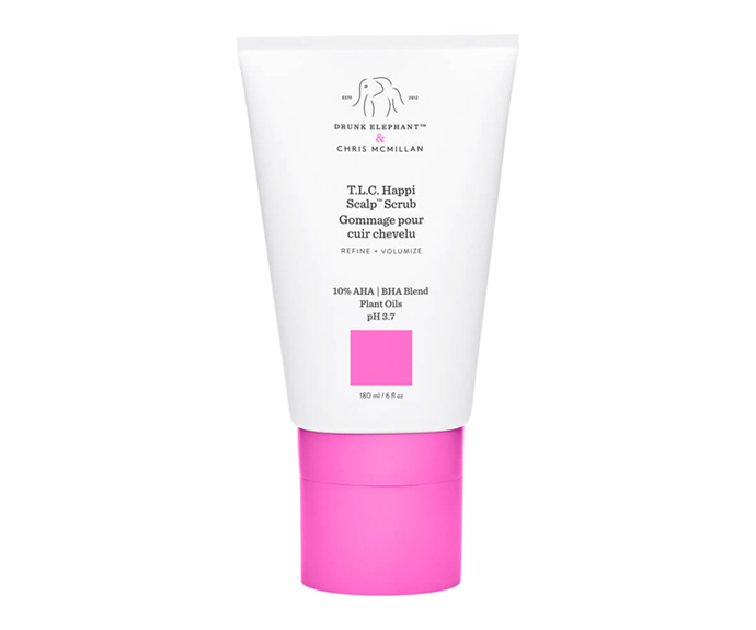 "**T.L.C. Happi Scalp Scrub by Drunk Elephant, $58 at [MECCA](https://www.mecca.com.au/drunk-elephant/tlc-happi-scalp-scrub/I-042674.html#q=scalp%2Bscrub&start=1|target=""_blank""