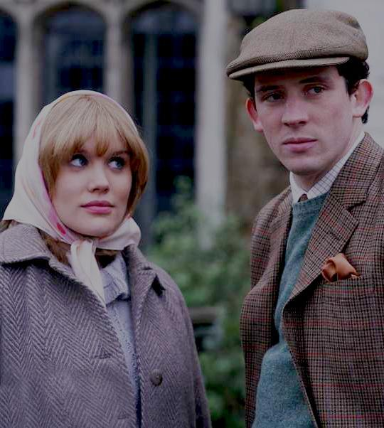 Josh O'Connor as Prince Charles in *The Crown*, alongside Emerald Fennell as Camilla Shand.