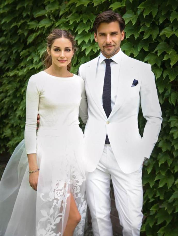 """**Olivia Palermo (2014)** <br><br> Socialite Olivia Palermo caused something of a stir on social media after debuting her [highly-anticipated](https://www.harpersbazaar.com.au/bazaar-bride/popular-celebrity-wedding-dresses-19397