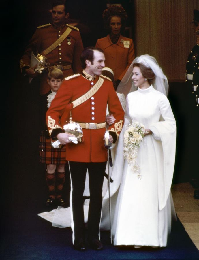 """**Princess Anne (1973)** <br><br> For her 1973 wedding to Mark Phillips, Princess Anne's dress was both unconventional and daring (for a [royal bride](https://www.harpersbazaar.com.au/bazaar-bride/royals-with-similar-wedding-dresses-17145