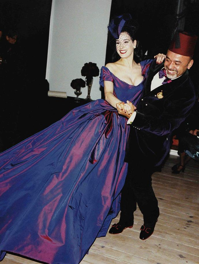**Dita Von Teese (2005)** <br><br> We wouldn't expect a wedding dress any less fabulous from burlesque performer Dita Von Teese, who wore this exaggerated, amethyst-coloured Vivienne Westwood gown for her 2005 marriage to Marilyn Manson.