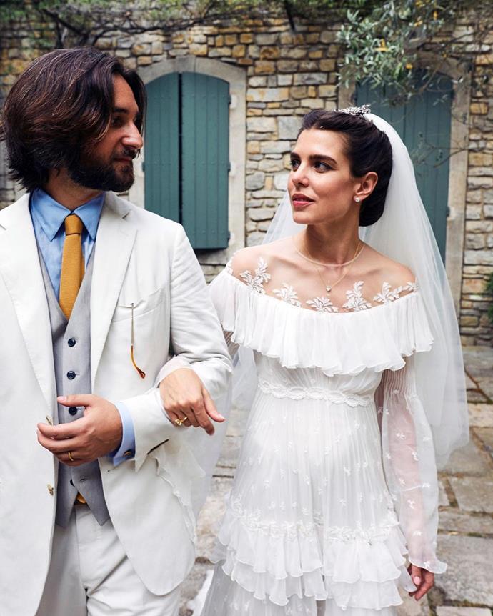"**Charlotte Casiraghi (2019)** <br><br> Channelling her mother, Princess Caroline, Monegasque royal Charlotte Casiraghi went for an unconventional bridal silhouette in this Giambattista Valli gown at her 2019 wedding. <br><br> *Image: Instagram [@giambattistavalliparis](https://www.instagram.com/p/BzV2UycofA4/|target=""_blank""|rel=""nofollow"")*"
