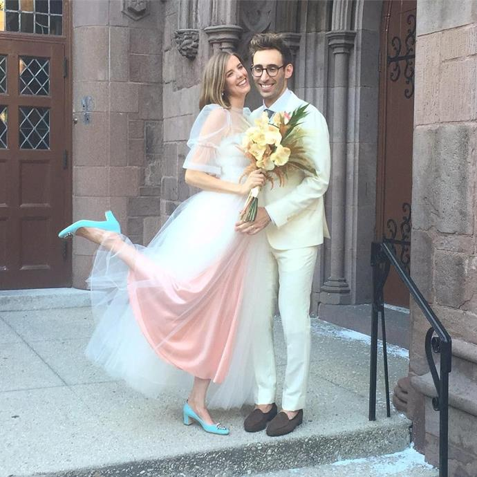 """**Agyness Deyn (2016)** <br><br> Known for her runway work in the 2000s (as well as her iconic pixie cut, which she's since grown out into a longer bob), supermodel Agyness Deyn wore a pink Molly Goddard gown with tulle overlay for her 2016 wedding. An honourable mention goes to the visible '[something blue](https://www.elle.com.au/wedding/celebrity-wedding-dresses-hidden-details-23356