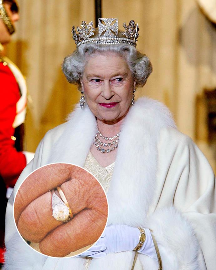**The wearer:** Queen Elizabeth II<br><br> **The ring:** A 3-carat round-cut diamond, surrounded by 10 small diamonds, set in platinum.<br><br> **The story:** Although he was born a Greek prince, Prince Philip's family was not particularly wealthy. After fleeing the war and relocating to Paris, Philip met and fell in love with the young Princess Elizabeth. When it came time to propose, Philip's mother, Princess Alice of Battenburg, gave him her wedding tiara, so that he could dismantle it and use its stones for a ring. Queen Elizabeth still wears the ring to this day.