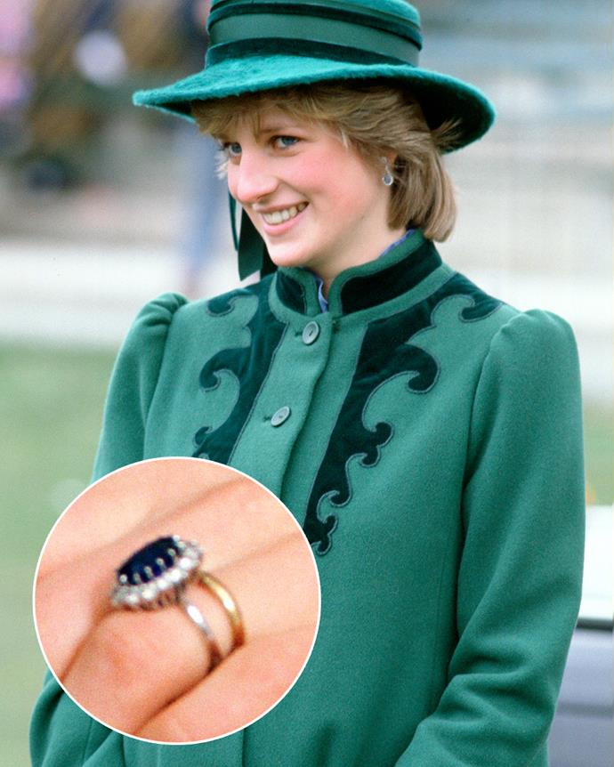 **The wearer:** Diana, Princess of Wales<br><br> **The ring:** A 12-carat Ceylon sapphire surrounded by 14 diamonds, set in white gold.<br><br> **The story:** In what was—at the time—a very unusual move for a royal bride-to-be, the then-Lady Diana Spencer chose to skip a custom design or a piece from the royal vaults and instead selected her sapphire ring from a Garrard's catalogue. This was a controversial choice at the time because it meant anyone could buy the same ring (and many did). However, that didn't bother the princess. She wore the ring even after divorcing Prince Charles, and left it to her sons.