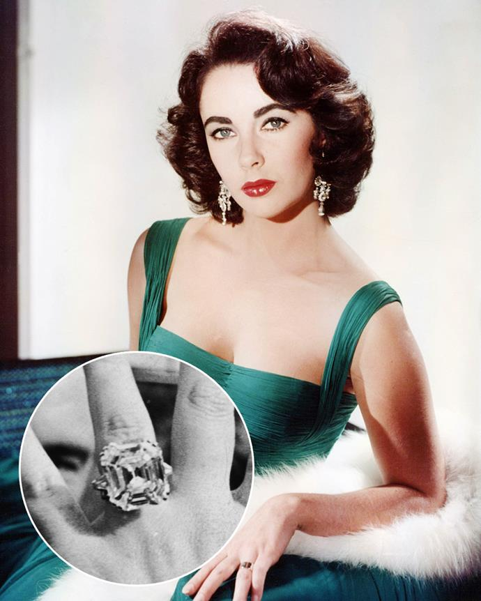 **The wearer:** Elizabeth Taylor<br><br> **The ring:** A 33-carat cushion-cut diamond on a platinum band.<br><br> **The story:** When Elizabeth Taylor married her fifth husband Richard Burton, he actually proposed with a 18.6-carat emerald pendant necklace. Then, after they had divorced and then reconciled, he gave her the colossal 33-carat Krupp diamond, which Taylor had made into a ring. It appeared in several of Taylor's films and was re-named the 'Elizabeth Taylor Diamond' after her death.