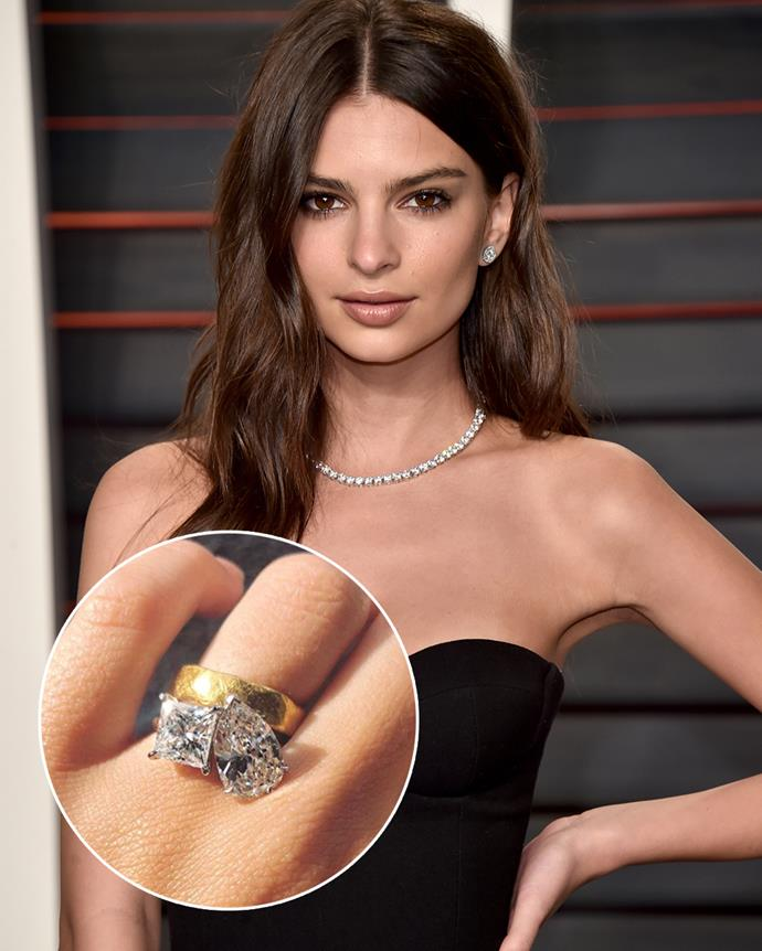 "**The wearer:** Emily Ratajkowski<br><br> **The ring:** A set of pear- and princess-cut diamonds on a yellow-gold band.<br><br> **The story:** After getting married at city hall (in one very chic Zara suit), Emily Ratajkowski wore just her gold band for a while, before debuting her massive engagement ring in 2018. The ring was designed by both Ratajkowski and her husband, Sebastian Bear-McClard, who was working on the movie *Uncut Gems* at the time. <br><br> ""We liked the idea of two stones instead of one and spent a long time looking at rings with multiple stones for inspiration,"" Ratajkowski [said of the ring](https://www.vogue.com/article/emily-ratajkowski-diamond-wedding-ring-celebrity-instagram-style