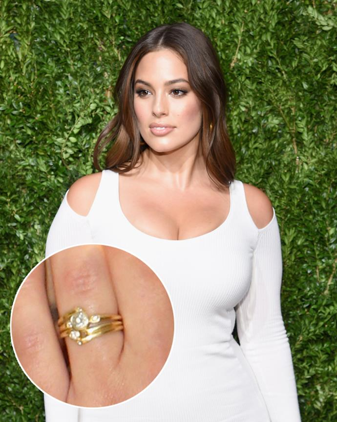 "**The wearer:** Ashley Graham<br><br> **The ring:** A round-cut-diamond on a brushed gold band.<br><br> **The story:** Our favourite kind of engagement ring? One that's designed exactly to our tastes *and* grows over time. ""I told [husband Justin Ervin] everything I didn't want and then I told him a few things that were very important to me,"" Graham revealed about her ring. ""I knew I wanted a flat diamond so I could put my hand in my pocket easily. I also didn't want traditional, super-shiny gold. I don't want it to be too much, I like it to be just enough, so I picked brushed gold.""<br><br> She also added: ""I added another diamond and band at our fifth anniversary, and for our upcoming tenth anniversary I will get another diamond. We take our anniversaries very seriously and our relationship is important to us. Getting to ten years nowadays is quite rare and no easy feat. I feel like I deserve that diamond!"""