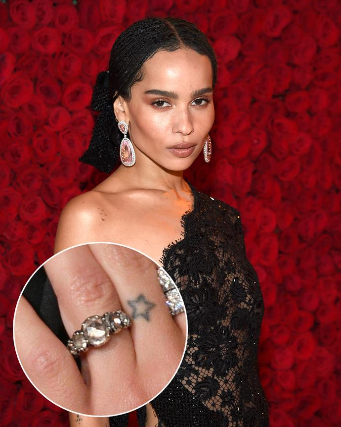 **The wearer:** Zoë Kravitz<br><br> **The ring:** A Georgian trio of rose-cut diamonds, backed by foil and set in silver-topped gold.<br><br> **The story:** If we got our hands on all the jewellery in our Instagram Saved folders, we'd be very happy women. Zoë Kravitz found and fell in love with her engagement ring on Instagram, after spotting on The One I Love NYC's page. A (very good) friend of Kravitz's sent the ring to Kravitz's boyfriend, Karl Glusman, who ended up buying the one-of-a-kind antique for her before anyone snapped it up.