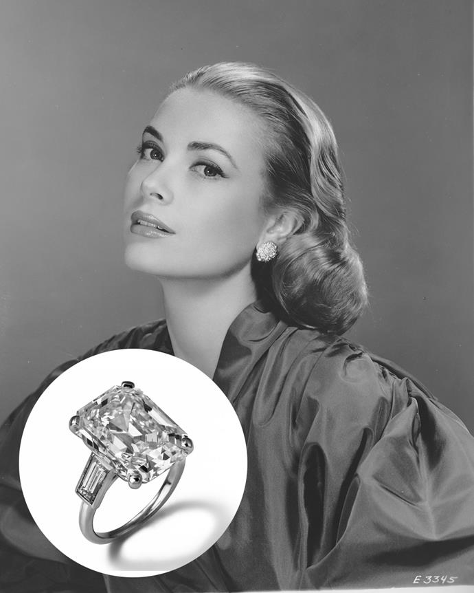 **The wearer:** Grace Kelly<br><br> **The ring:** A 10.48-carat emerald-cut diamond on a platinum band.<br><br> **The story:** When Prince Rainier of Monaco proposed to actress Grace Kelly in 1956, he did it with a diamond and ruby eternity band. It was only during the filming of *High Society* that Kelly debuted her second engagement ring, a 10 carat sparkler from Cartier. Rumour has it that Kelly was meant to wear a large fake prop ring for the role, but that Rainier had offered to buy her 'a real one' that she could then keep. During the film, Kelly (as Tracy Lord) is seen comically polishing and cleaning the ring.