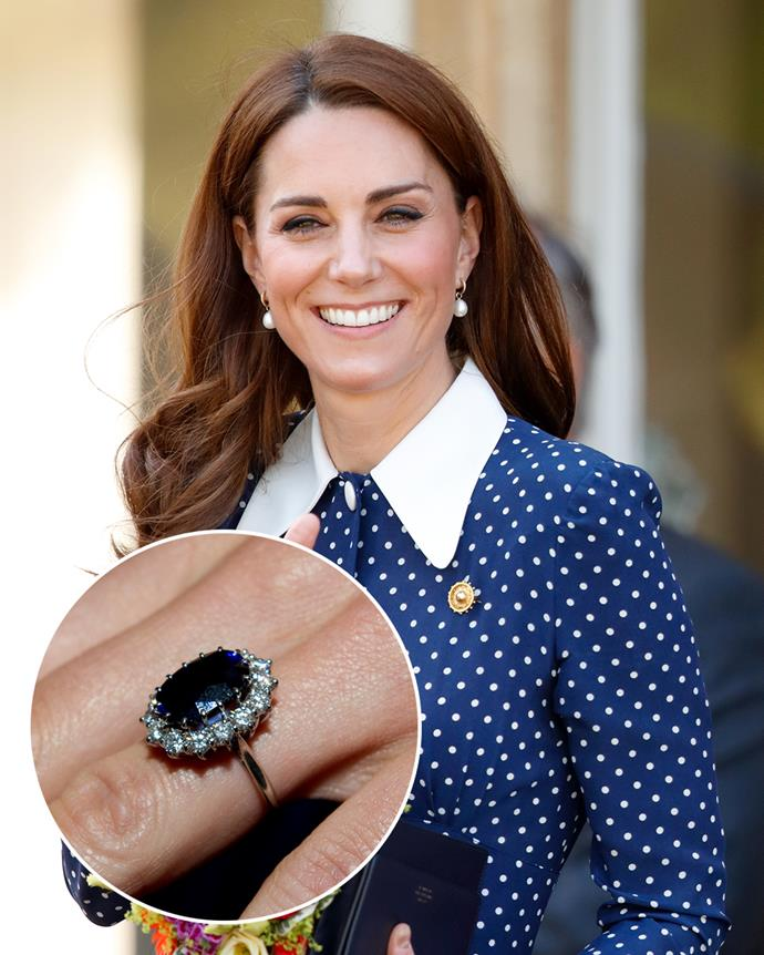 **The wearer:** Catherine, Duchess of Cambridge<br><br> **The ring:** A 12-carat Ceylon sapphire surrounded by 14 diamonds, set in white gold.<br><br> **The story:** While the image of the Duchess of Cambridge is now tied with her iconic sapphire ring, it's fascinating to note that it wasn't always meant to be her's. After the tragic passing of Princess Diana, her sons picked a piece of her jewellery each as a memento. William chose her Cartier tank watch and Harry chose her engagement ring. However, when it came time to propose to his then-girlfriend Catherine Middleton, William asked his brother for a trade so he could give it to her. The ring is now cheekily known as the 'commoner's sapphire,' as it belonged to two royal brides of 'common' origin.