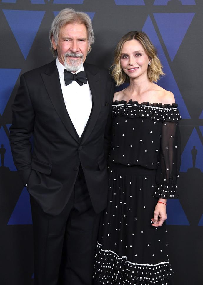 **Harrison Ford, 77, and Calista Flockhart, 55**<br><br>  **Age difference:** 22 years<br><br>  Harrison Ford and Calista Flockhart first met at the 2002 Golden Globe Awards. The were married in 2010 and have an adopted son.