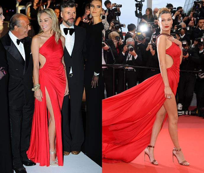 "**Bella Hadid's Roberto Cavalli Dress**<br><br>  While it's easily one of the [most iconic Cannes Film Festival fashion moments](https://www.harpersbazaar.com.au/fashion/best-cannes-red-carpet-dresses-history-20290|target=""_blank"") in recent history, Bella Hadid wasn't the first to wear this fiery red archive dress by Roberto Cavalli—and it wasn't the first time it had appeared at the festival. Incidentally, the asymmetric gown was previously worn by Sharon Stone, when she attended a Cannes party in 2013 (looking equally incredible)."