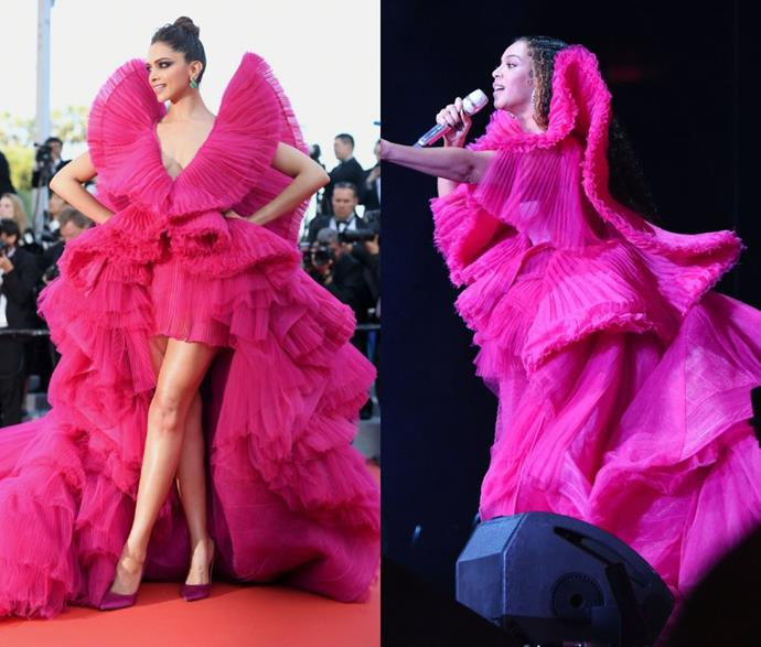**Beyoncé's Ashi Studio gown**<br><br>  When Beyoncé took to the Global Citizen Festival stage in South Africa in December 2018, her frothy fuchsia Ashi Studio gown quickly became the most talked about of her six different outfits. However, before the *Lemonade* chanteuse made it her own, Bollywood icon Deepika Padukone took it for a red carpet spin at the May 2018 Cannes Film Festival.