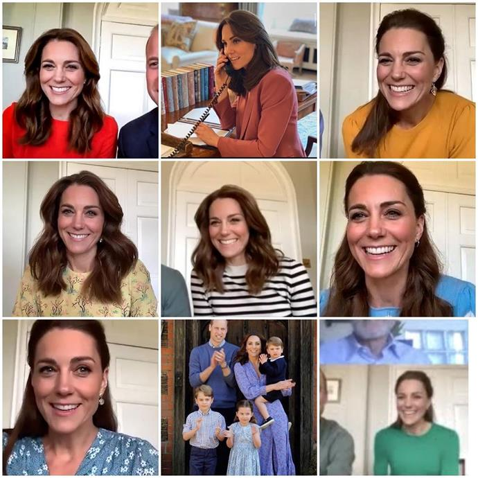 """**Kate Middleton wearing rainbow colours** <br><br> As reported by [*Harper's BAZAAR* U.K.](https://www.harpersbazaar.com/uk/celebrities/news/a32514314/duchess-cambridge-rainbow-zoom-wardrobe/ target=""""_blank"""" rel=""""nofollow""""), Duchess Kate Middleton has worn various different bright colours during virtual calls throughout 2020, which some believe is her way of showing support for the U.K.'s National Health Service. <br><br> Since the start of 2020, rainbows have been used as a symbol of solidarity for healthcare workers on the front line, who are currently facing the unprecedented COVID-19 [pandemic](https://www.elle.com.au/news/coronavirus-pandemic-australia-23152 target=""""_blank""""). <br><br> Instagram account [@cambridgemums](https://www.instagram.com/p/CAFoElhHgb4/ target=""""_blank"""" rel=""""nofollow"""") first pointed out the Duchess's unexpected fashion synchronicity, and wrote: """"KATE HAS LITERALLY WORN A RAINBOW 🌈 Our duchess of impact has quite literally used her lockdown wardrobe to send a message, and WE ARE HERE FOR IT 👏🏼."""" <br><br> *Image: Instagram [@cambridgemums](https://www.instagram.com/p/CAFoElhHgb4/ target=""""_blank"""" rel=""""nofollow"""")*"""