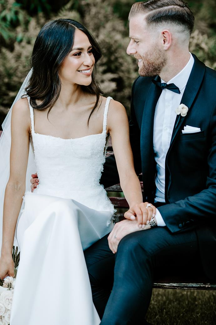 **On how he proposed:** Sam organised a surprise weekend away at a secluded rain forest retreat in the Yarra Valley. It was the middle of winter and we were sitting by the fire enjoying a cheese platter and a few red wines when he got down on one knee.