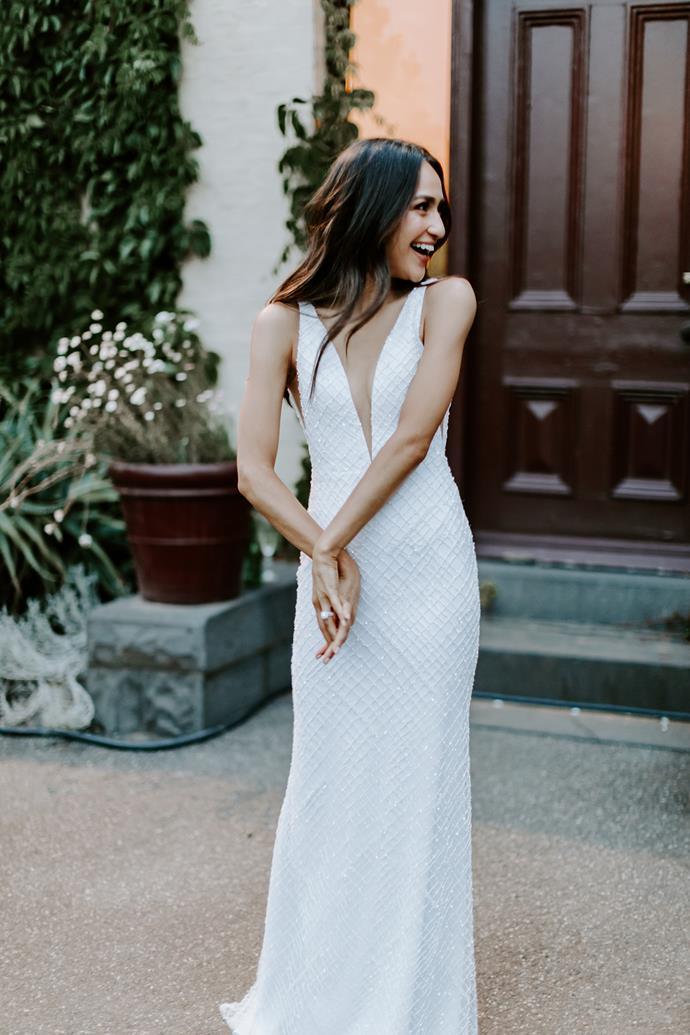 *Sam seeing Natalie in her reception dress.*