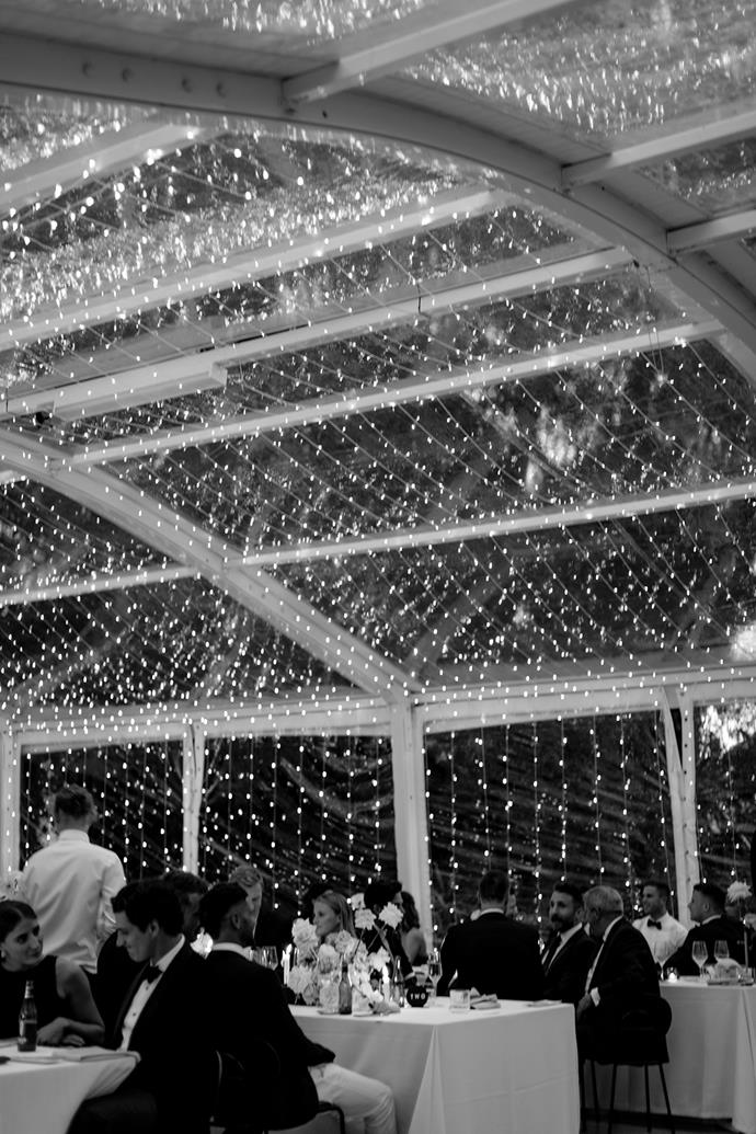 **On the groom's requests for the day:** Sam really wanted a canopy of fairy lights over the marquee, it was magical at night and one of my favourite photos is of our first dance with the fairy lights in the background.
