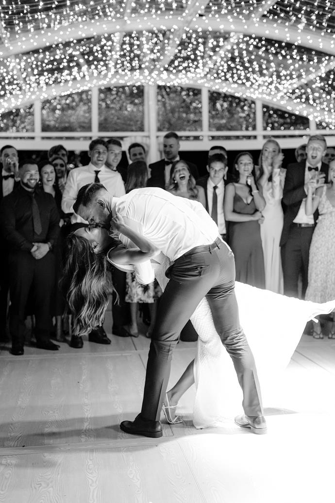 """**On their first dance:** Our first dance was to an edited version of """"Latch"""" by Sam Smith, it starts slow and then speeds up which was the cue for everyone to join. We didn't want to dance for very long, we both have two left feet!"""