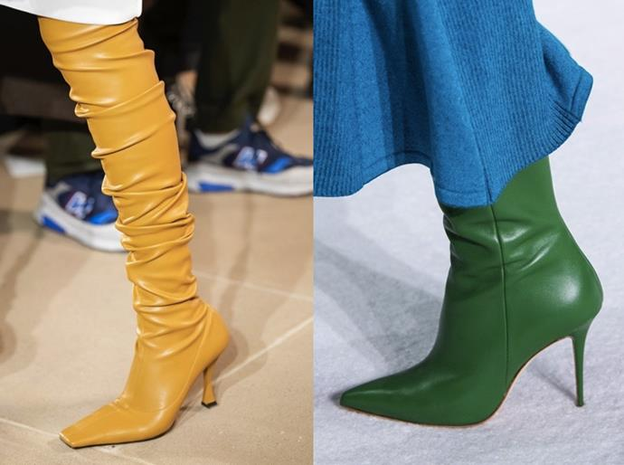 **Crayon Brights:** <br><br> Opt for boots in high-spirited shades to energise your winter wardrobe. Take your cues from the grabby footwear palettes seen at Proenza Schouler and Carolina Herrera AW20.