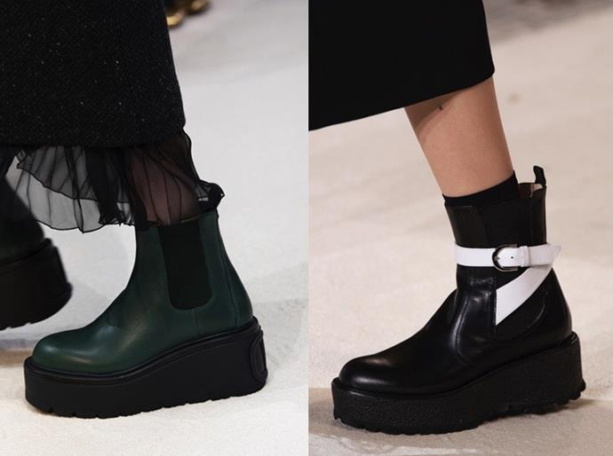 **Chelsea Boots** <br><br> Stomp into the cooler months with an elevated take on the Chelsea boot. Lug-soled and platform designs (seen here at Valentino and Giambattista Valli AW20) have afforded the perennial classic an edgier appeal—the modern and hyper-practical update your winter outfits are waiting for.