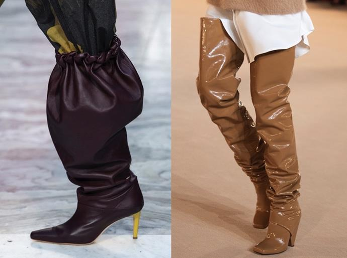 **Slouchy Boots** <br><br> '80s-inflected slouchy boots have been a runway fixture for the past two years thanks to brands such as Celine, Isabel Marant and Saint Laurent—and if AW20 runways are an indicator of what's to come, the style is here to stay. Perfect to pair with winter staples and party pieces, the slouchy boot presents a relaxed alternative to the second-skin, over-the-knee boot. The designs to covet this winter? Bookmark Roksanda Ilincic's puffed-up boots and Balmain's glossy leather iterations.
