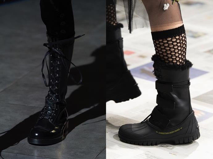 **Dr Martens-Style Combat Boots** <br><br> The model off-duty mainstay made its way to the runway this season with chunky, military-inspired boots seen at Dolce & Gabbana, Dior (both above), Rochas and Valentino. Balancing comfort and cool, the revised clompy classic is the perfect way to toughen up languid prints and offers a stylish solution to transeasonal dressing dilemmas.