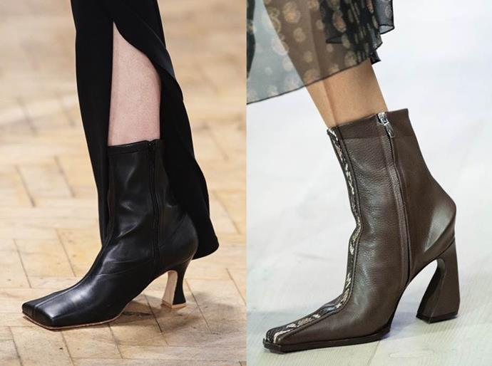 **Square-Toe Boots** <br><br> Extreme, super-defined square-toe boots are having a moment with supermodels Bella Hadid and Kendall Jenner early adopters of the trend. A throwback to similar shoe silhouettes made popular in '90s (think Tom Ford at Gucci), the boot's pared-back aesthetic feels both timeless and timely. *BAZAAR*'s pick from the AW20 runways: geometric ankle boots seen at fashion-crowd favourites AWAKE and Charlotte Knowles.