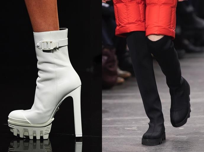 **Gorpcore** <br><br> Tread-sole boots (think chunky wellingtons and snow boots) were the season's biggest breakout stars, championed by labels including Versace, Issey Miyake (both above) and Prada. Partner the hefty boot with slinky dresses for an unexpected but fashion-forward evening look.