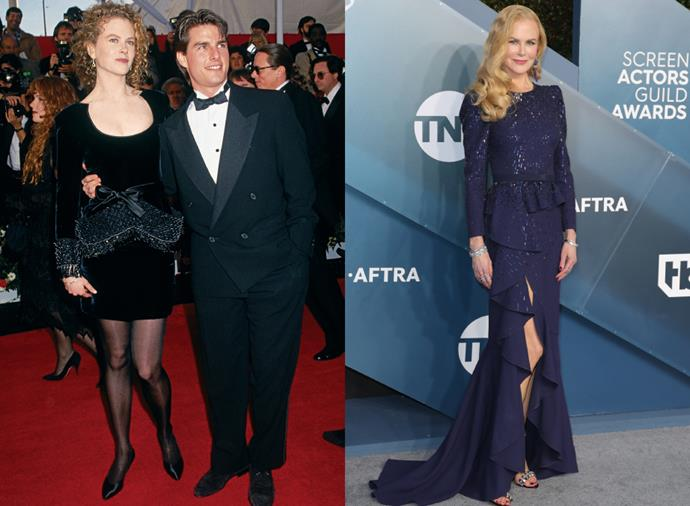"**Nicole Kidman**<br><br>  The *Big Little Lies* star first made her Hollywood red carpet debut at the 1991 Oscars alongside Tom Cruise, whom she started opposite in *Days of Thunder* (pictured left). For the occasion, Kidman wore a little black velvet dress with with waist and wrist embellishment. Over the years, the statuesque actress has become one of Australia's leading fashion icons, stepping onto the red carpet dressed by some of the world's best fashion houses, including Christian Dior, Alexander McQueen, Chanel and Balenciaga (her [red 2007 Oscars dress](https://www.harpersbazaar.com.au/celebrity/best-oscar-dresses-of-all-time-12339|target=""_blank"") will never be forgotten). Most recently, Kidman took to the [2020 SAG Awards red carpet](https://www.harpersbazaar.com.au/fashion/sag-awards-2020-red-carpet-19827