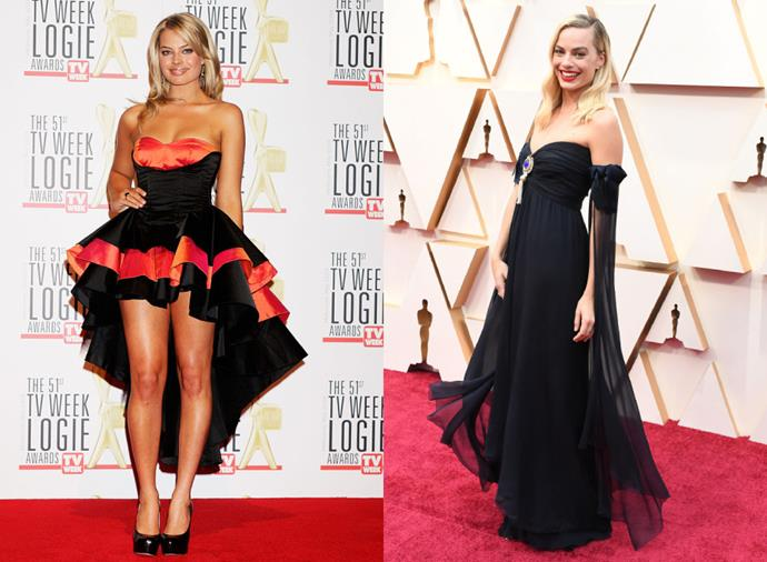 "**Margot Robbie**<br><br>  Just like [Margot Robbie's before-and-after](https://www.elle.com.au/beauty/margot-robbie-before-after-22375|target=""_blank"") beauty transformation, the actress has had quite the style evolution since making the leap across the pond. Her time of sporting a strapless 'mullet' dress to the 2009 Logie Awards (pictured left) has long gone. These days, Robbie is well-regarded as one of Australia's most stylish women and boasts a Chanel ambassadorship under her belt (as exemplified by the [vintage Chanel dress](https://www.harpersbazaar.com.au/fashion/margot-robbie-oscars-vintage-chanel-19908
