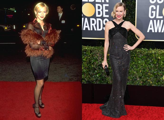 "**Naomi Watts**<br><br>  Former *Home and Away* actress and past *BAZAAR* cover star [Naomi Watts](https://www.harpersbazaar.com.au/celebrity/naomi-watts-2019-18892|target=""_blank"") has had quite the red carpet evolution. From short dresses and feathery shrugs (pictured right at the *Tank Girl* premiere in 1995), to glimmering in Armani Privé at the 2020 Golden Globes, the ascent is nothing short of spectacular."