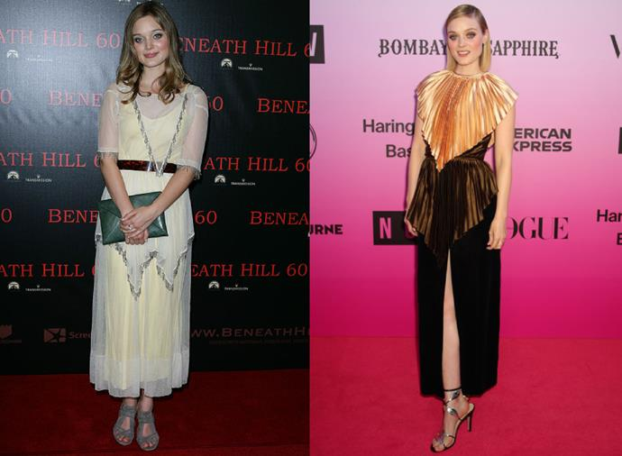 "**Bella Heathcote**<br><br>  Like her fellow *Bloom* co-star, Bella Heathcote has also raised the stakes in her red carpet game. Commencing acting in the beginning of the 2010s, the former *Neighbours* star's early red carpet style has changed significantly since she first attended the *Beneath Hill* premiere (pictured left in 2010), with Heathcote's most recent red carpet look involving Gucci at the [NGV Fashion Gala](https://www.harpersbazaar.com.au/fashion/ngv-gala-2019-red-carpet-19658|target=""_blank"") at the end of 2019 (pictured right)."