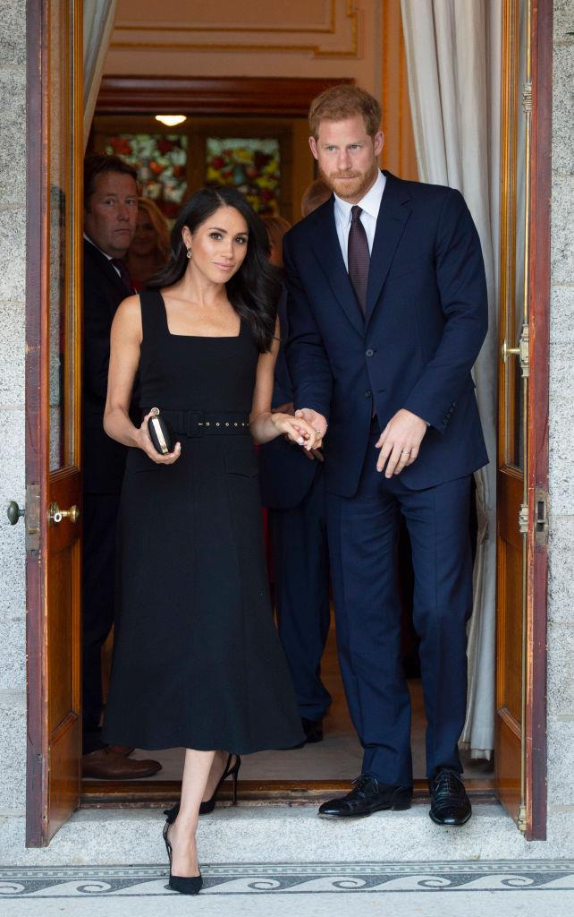 Meghan Markle (in Emilia Wickstead) and Prince Harry in July 2018.