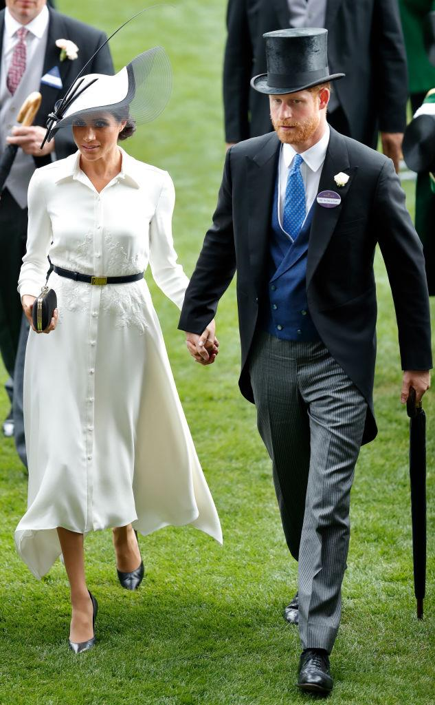 Meghan Markle (in Givenchy) and Prince Harry at Royal Ascot in June 2018.