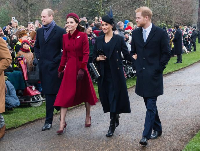 Prince William, Kate Middleton (in Catherine Walker), Meghan Markle (in Victoria Beckham) and Prince Harry attending Christmas service in December 2018.