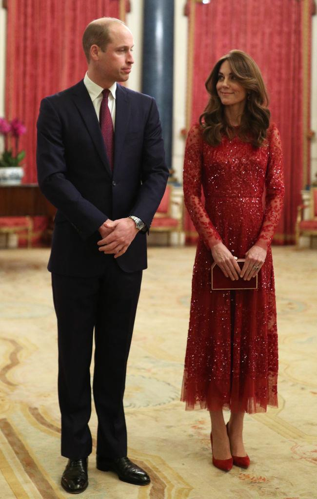 Prince William and Kate Middleton (in Needle & Thread) at Buckingham Palace in January 2020.
