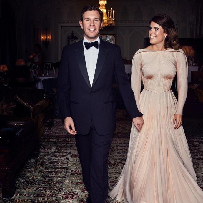 "Jack Brooksbank and Princess Eugenie of York (in Zac Posen) at their wedding reception in October 2018. <br><br> *Image: Instagram [@princesseugenie](https://www.instagram.com/p/BvZaNKZFhBi/|target=""_blank""|rel=""nofollow"")*"