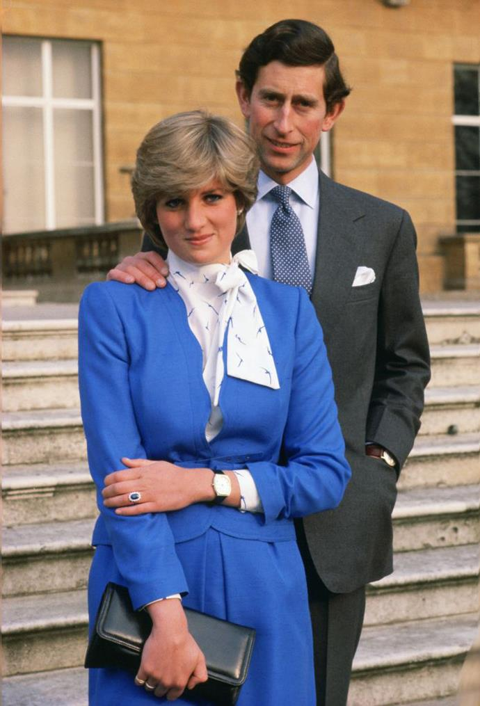 """Princess Diana of Wales (then Diana Spencer) and Charles, Prince of Wales announcing their engagement in 1981 (with Diana showing off her world-famous [engagement ring](https://www.harpersbazaar.com.au/celebrity/british-royal-engagement-rings-15117