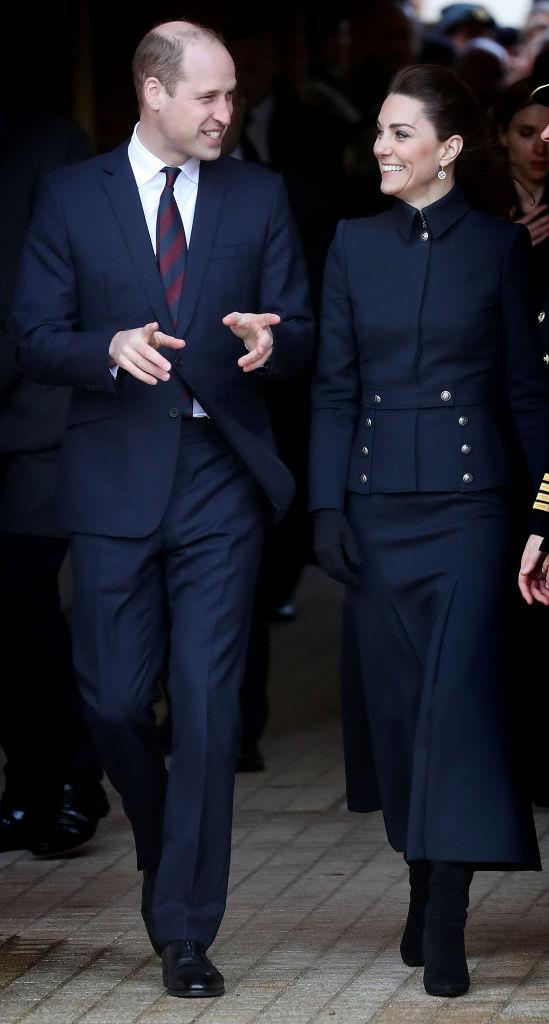 Prince William and Kate Middleton (in Alexander McQueen) in February 2020.
