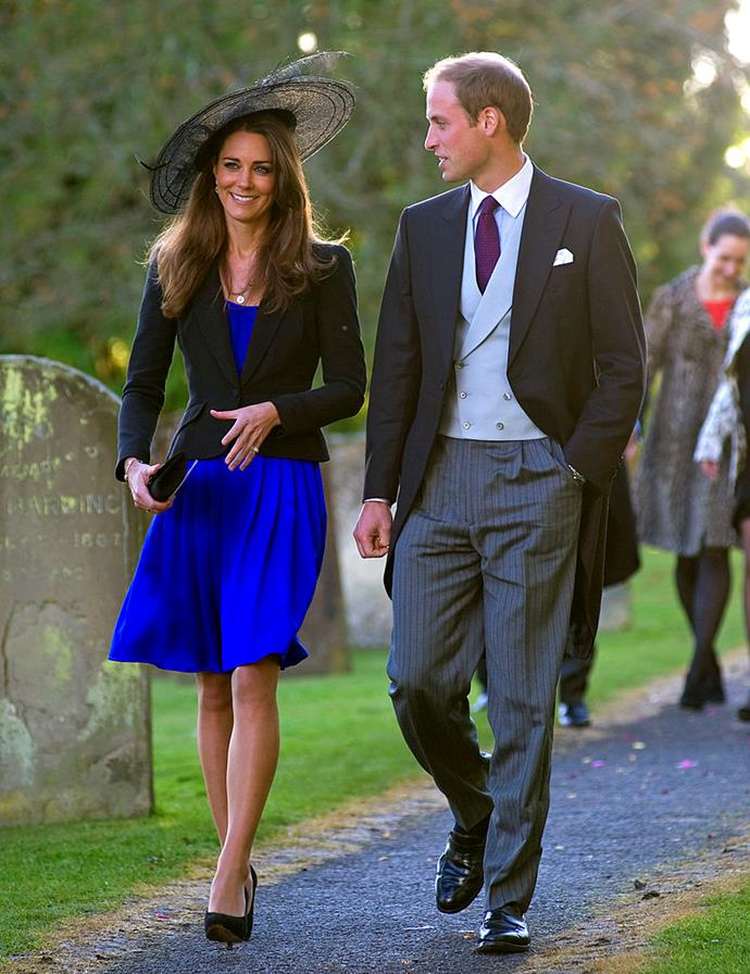 Kate Middleton and Prince William at a friend's wedding in 2010.