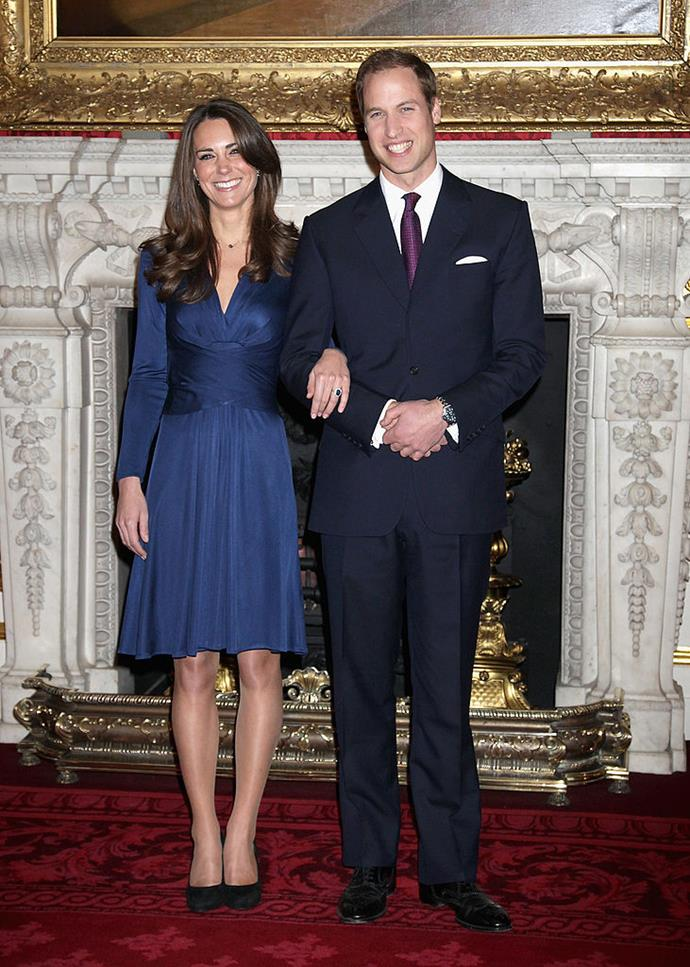 Kate Middleton and Prince William announcing their engagement at Clarence House in November 2010 (with Kate wearing Diana's world-famous engagement ring).