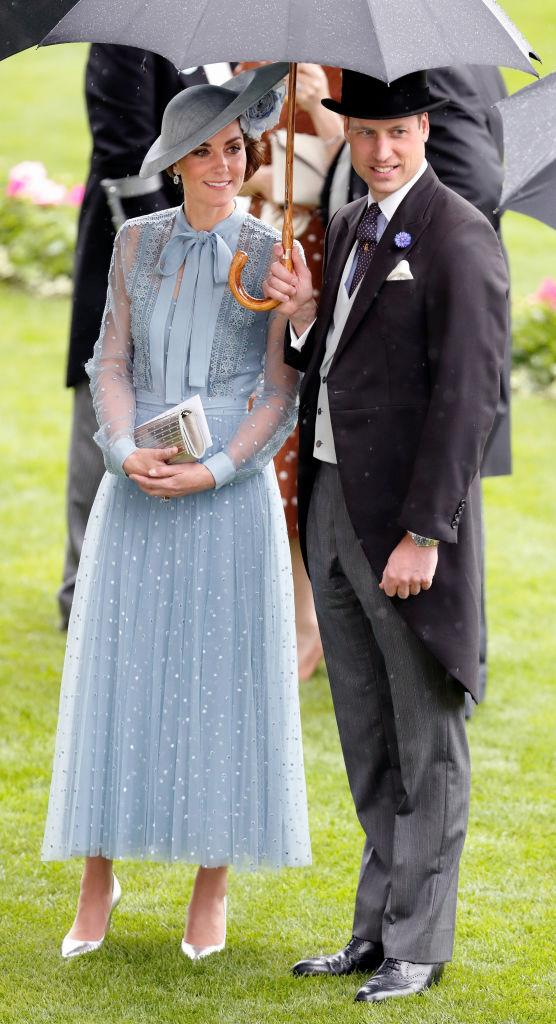 Kate Middleton (in Elie Saab) with Prince William at Royal Ascot in June 2019.